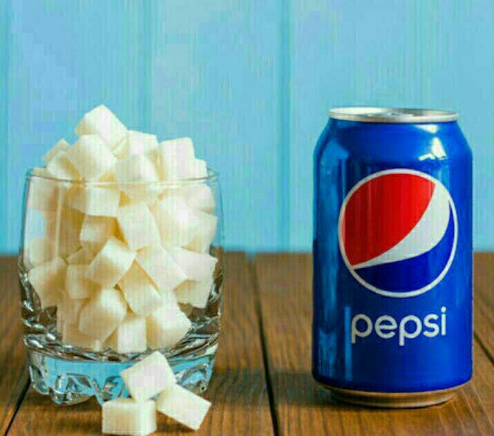 یک قوطی نوشابه پپسی 6 قاشق پر شکر دارد!