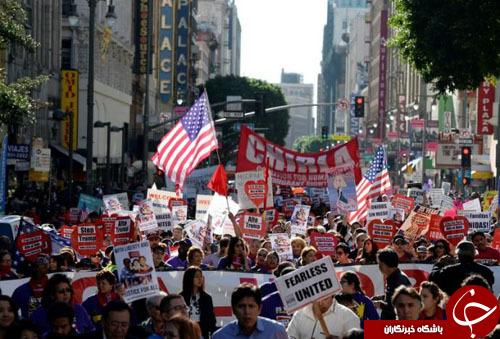 تظاهرات گسترده علیه ترامپ در کالیفرنیا و فلوریدا+ تصاویر
