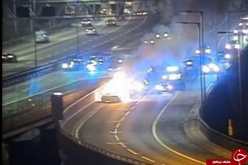خودروی سرقتی در تعقب و گریز پلیس در بزرگراه منفجر شد+عکس