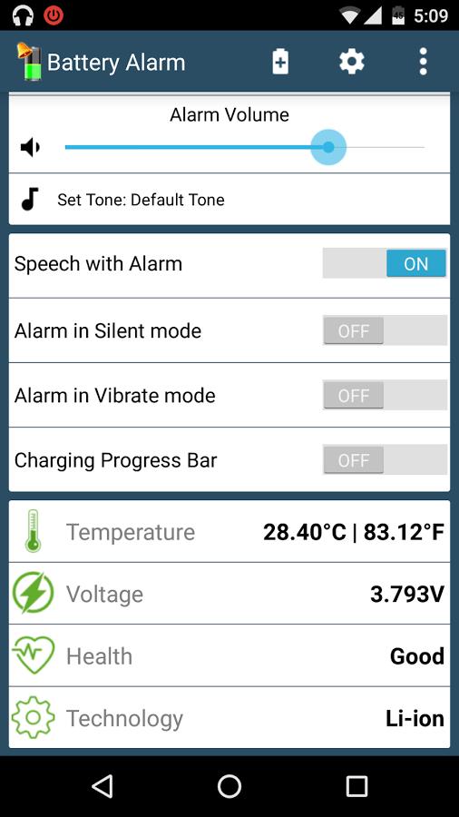 Full Battery Alarm