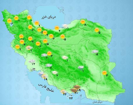 کاهش شدت سرما در کشور + جدول