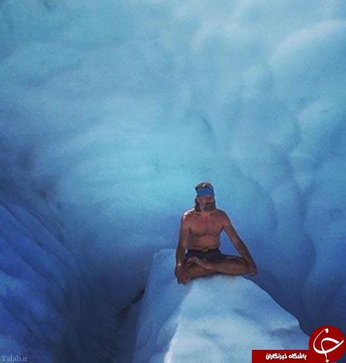 مرد عجیبی که سرمای هوا بر او اثر ندارد +عکس
