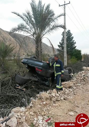 2 مصدوم در واژگونی خودرو پژو + تصاویر