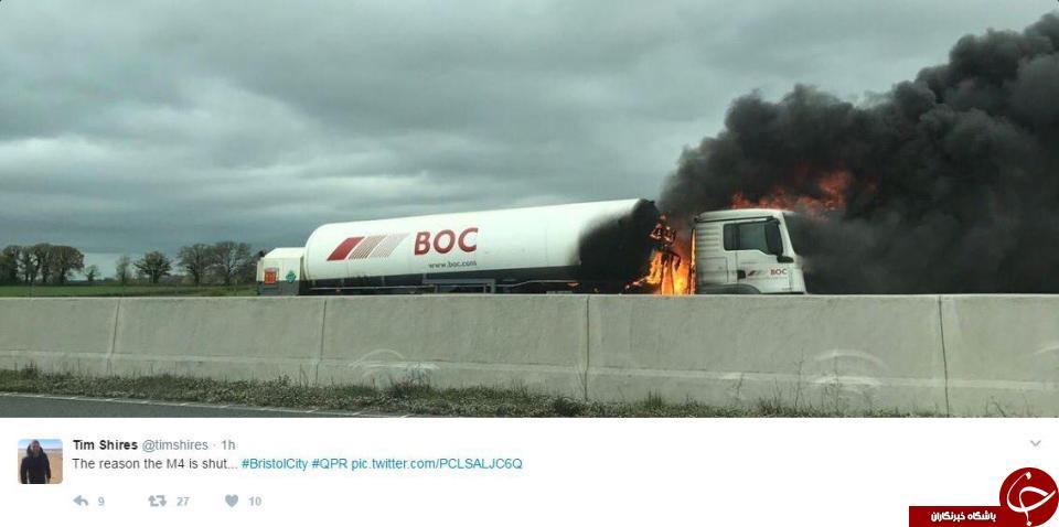 آتش گرفتن تانکر حامل سوخت در بزرگراه + تصاویر