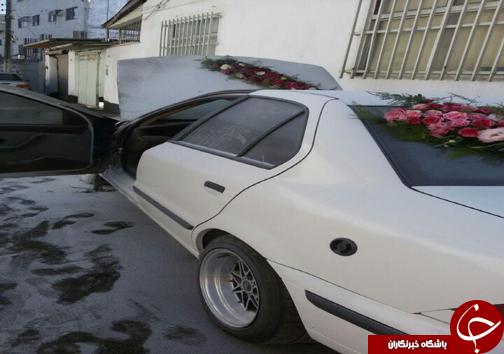 آتش سوزی ماشین عروس در بابل + تصاویر