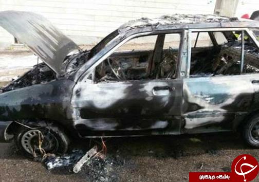 خودرو پراید در محاصره شعله های آتش + تصاویر