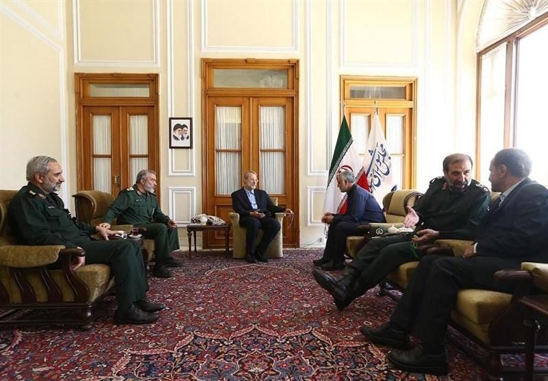 گزارش تصویری از دیدار سرلشکر سلیمانی و تعدادی از فرماندهان سپاه با رئیس مجلس