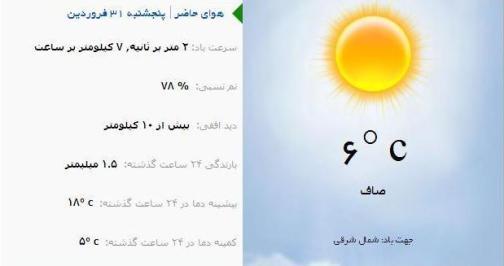 آب و هوا - آذربایجان شرقی 31 فروردین ماه  96