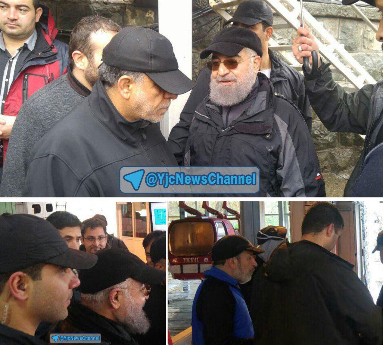 پیاده روی رئیس جمهور در توچال با ظاهری متفاوت+ عکس