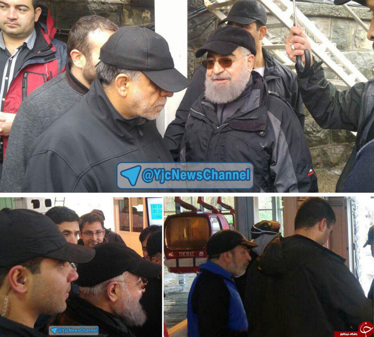 پیاده روی امروز رئیس جمهور و استفاده از تله کابین توچال با تیپ متفاوت + تصاویر