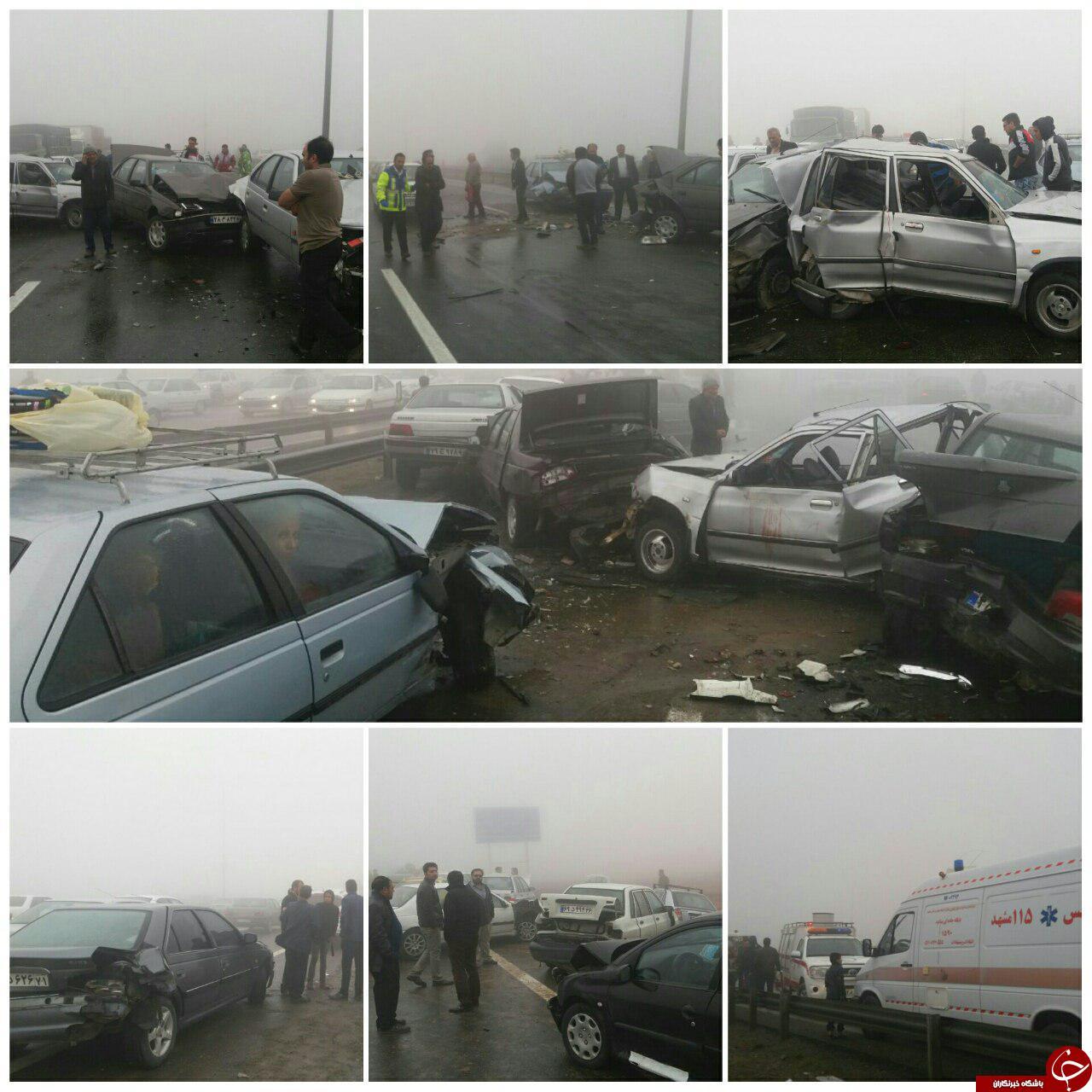 1 کشته و بیش از 43 مجروح در تصادف زنجیره ای اتوبان مشهد- نیشابور