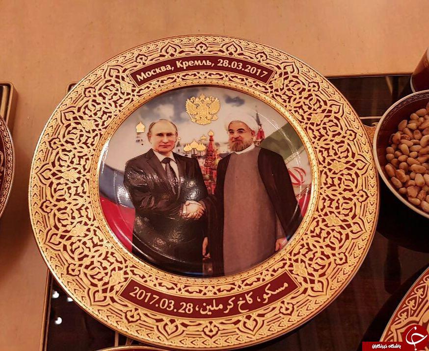 تصویر حسن روحانی بر روی بشقاب کرملین