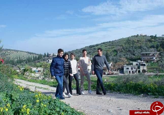 پیادهروی خانوادگی بشار اسد در حمص+عکس