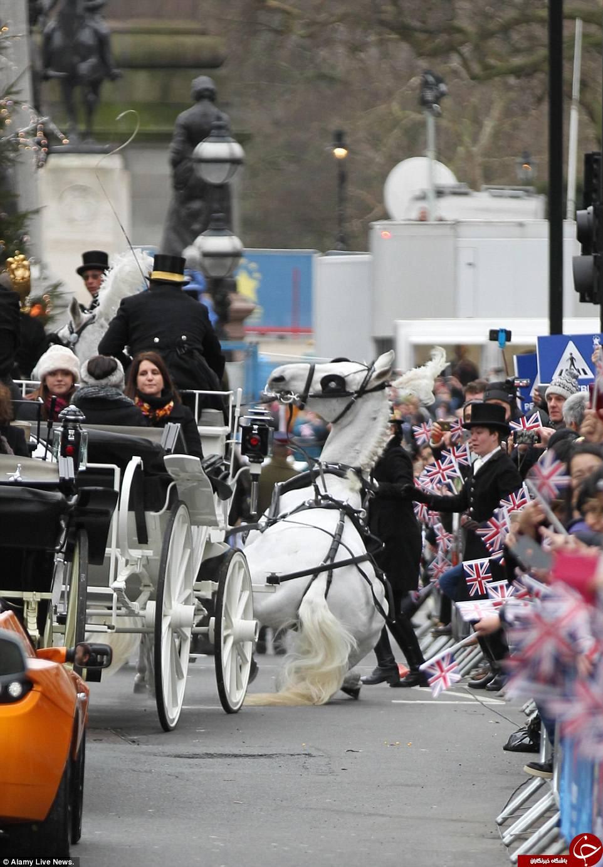 غش کردن یک اسب وسط مراسم باشکوه سال نو در انگلیس+ تصاویر
