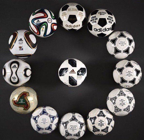 //////عکسی جالب از توپ های ادوار مختلف جام جهانی
