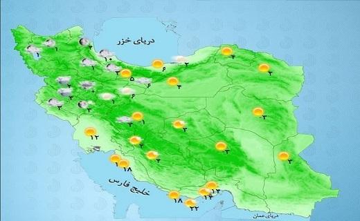 بارش باران در برخی مناطق کشور/ آسمان تهران هم بارانی می شود+ جدول