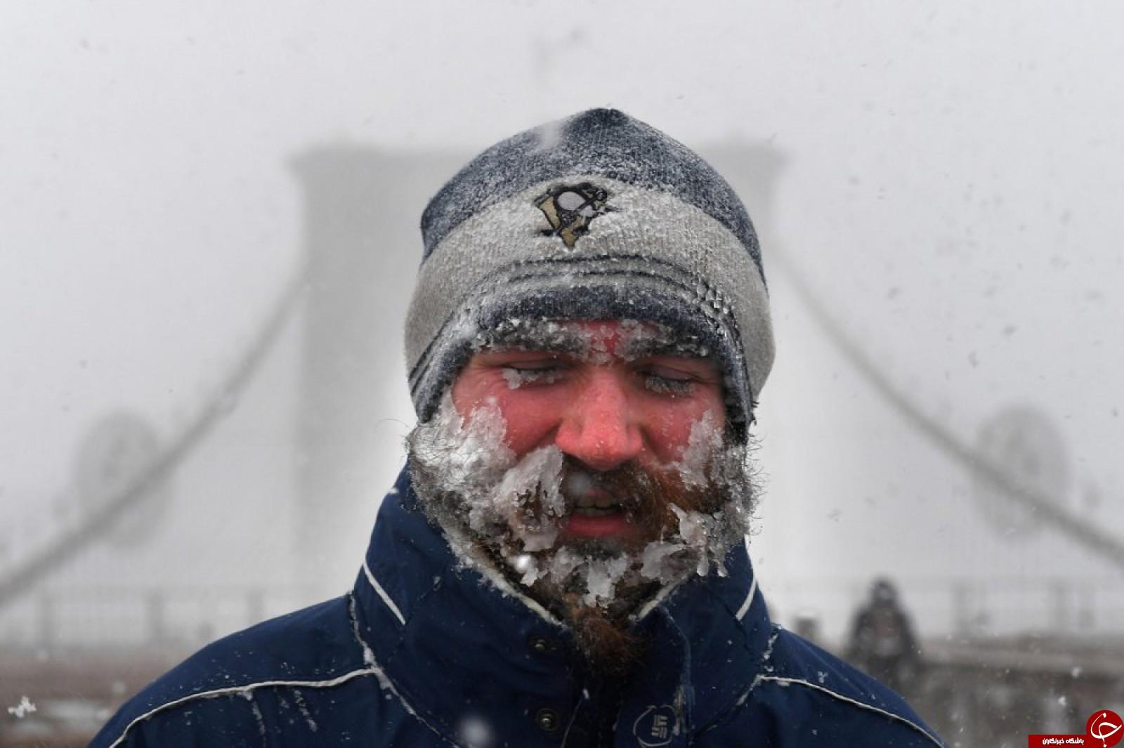 مردی که از شدت سرما ریش و سبیلش یخ زد!+عکس