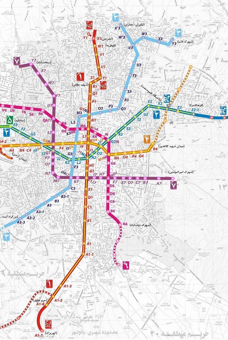 نقشه خطوط 7 گانه مترو تهران و حومه + تصاویر