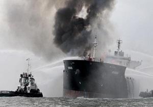 آخرین وضعیت کشتی نفتکش حادثه دیده در آبهای چین