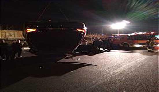 تصادف شدید دو دستگاه خودرو سواری در بزرگراه بابابی+عکس