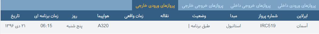 پروازهای پنج شنبه ۲۱ دی ماه از فرودگاه بین المللی ارومیه