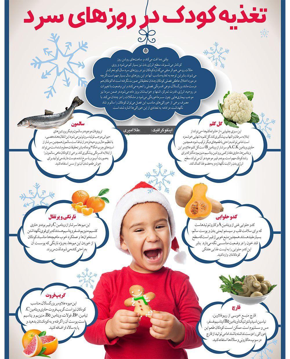 کودک را در روزهای سرد سال با این غذاها گرم کنید + اینفوگرافیغذاهایی که در روزهای سرد سال باید به کودکان بدهید + اینفوگرافی