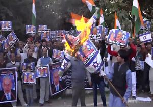 تظاهرات مسلمانان هند همزمان با سفر نتانیاهو به دهلینو