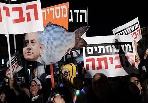 تظاهرات هزاران نفری صهیونیستها در اعتراض به فساد مالی نتانیاهو برای هفتمین هفته متوالی