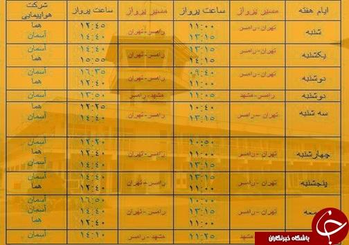 پروازهای دوشنبه ۲۵ دی از فرودگاههای مازندران