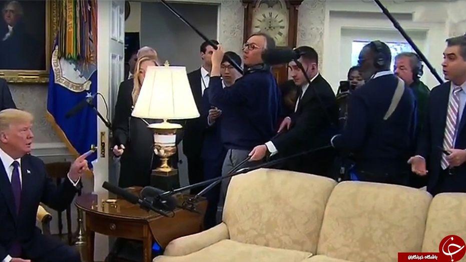 ترامپ خبرنگار سی ان ان را از کاخ سفید بیرون انداخت! + تصاویر
