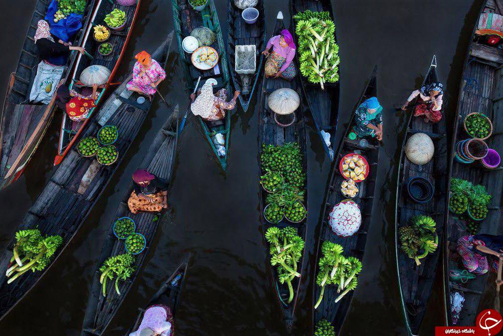 تصویری دیدنی از بازارچه های شناور در اندونزی