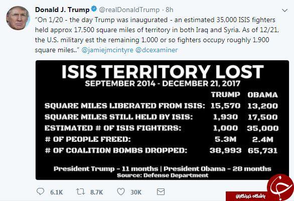 افتخار ترامپ به شکست داعش از زمان به دست گرفتن قدرت+ توییت