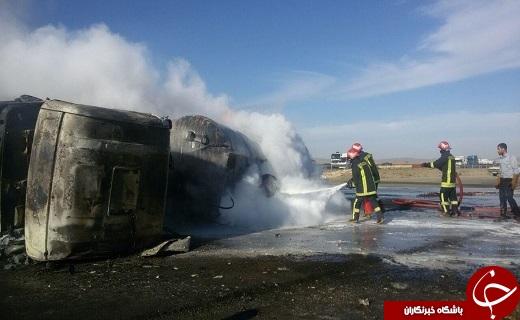 برخورد مرگبار موتورسیکلت با کشنده ی اسکانیا در قم/انفجار کشنده ی اسکانیا+تصاویر