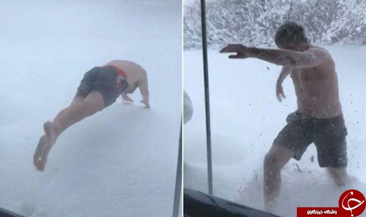 پشیمانی آنی یک نوجوان پس از شیرجه زدن در برف 1.5 متری! فیلم////////////////////////////////