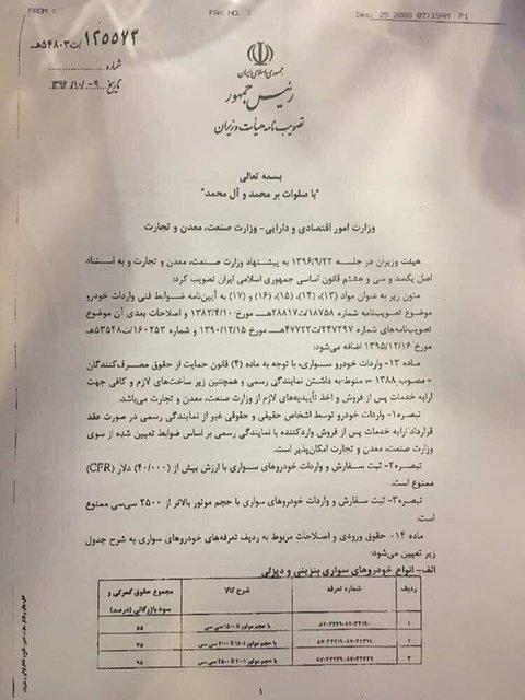 دستورالعمل جدید واردات خودرو ابلاغ شد + سند