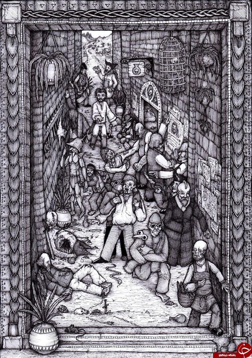 من نقاشی های فانتزی پیچیده ای را با الهام از هنرمندان کلاسیک و کارتون های مدرن طراحی کردم