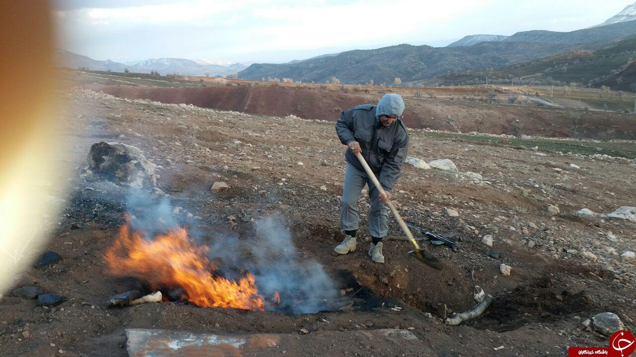 تخریب کوره های زغال غیر مجاز +تصاویر