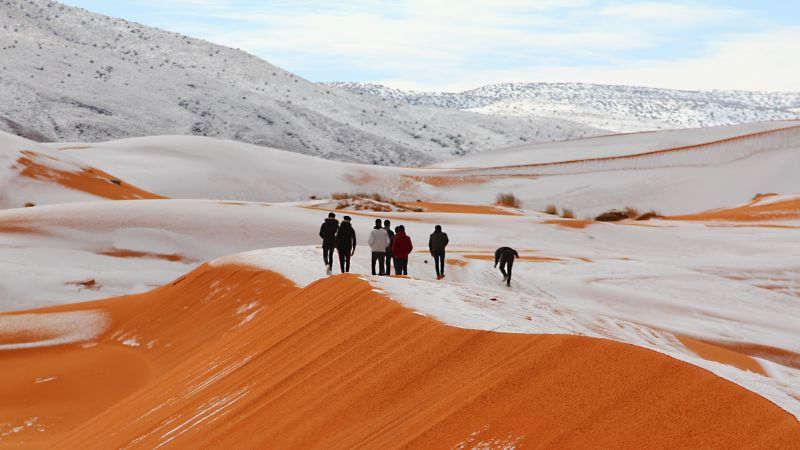 بارش کم سابقه برف در صحرای مغرب