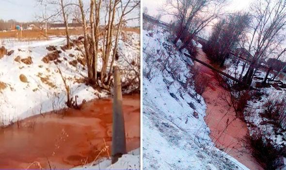 رودخانه ای در سیبری به رنگ خون درآمد+تصاویر