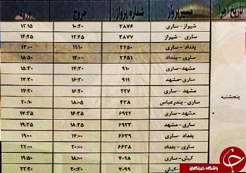 پروازهای پنج شنبه ۱۲ بهمن از فرودگاههای مازندران