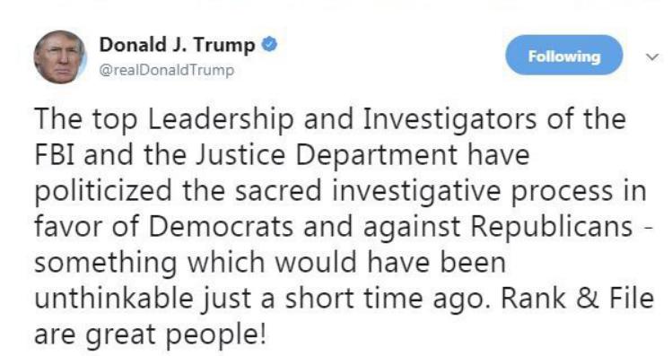ترامپ «اف بی آی» و وزارت دادگستری آمریکا را به جانبداری از دموکراتها متهم کرد