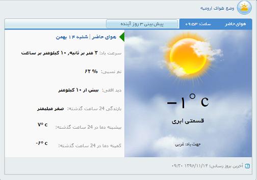وضع هوای ارومیه شنبه ۱۴ بهمن