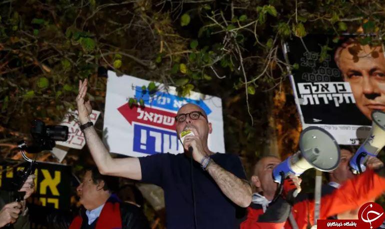ادامه تظاهرات صهیونیستها علیه فساد مالی نتانیاهو برای نهمین هفته متوالی+ تصاویر