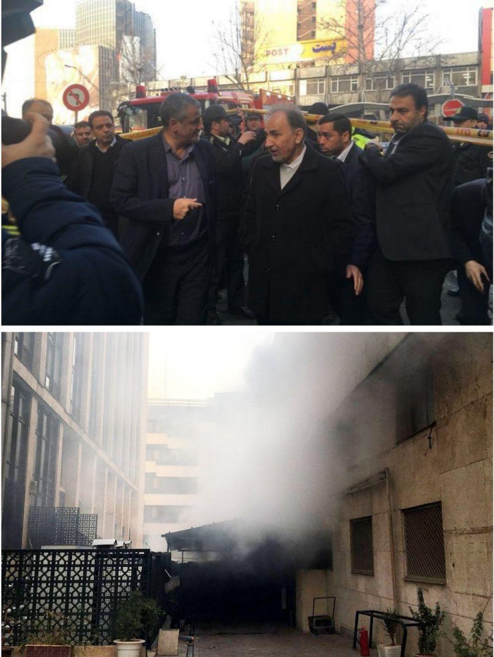 بازدید شهردار تهران از محل آتش سوزی ساختمان 8 طبقه وزارت نیرو