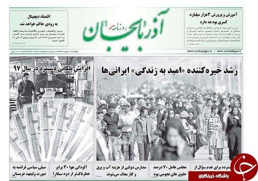 صفحه نخست روزنامه استانآذربایجان شرقی چهارشنبه 18 بهمن ماه