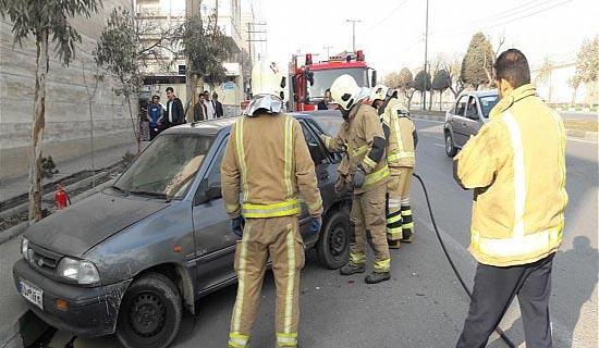 تصادف شدید 2 دستگاه خودروی سواری در تهرانسر+عکس