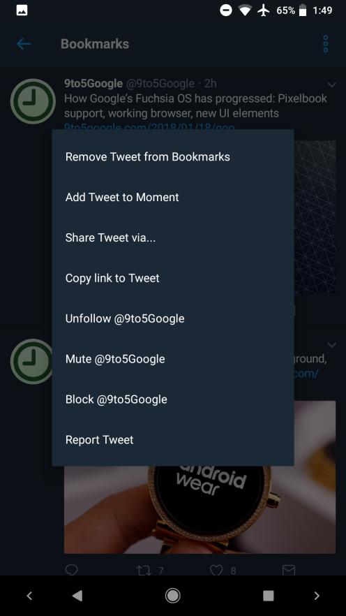 بوکمارک کردن توئیتها به نسخه اندروید توئیتر اضافه شد