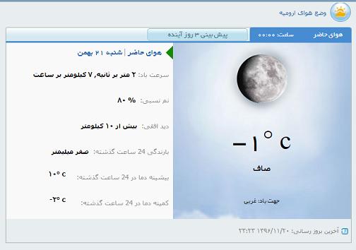 وضع هوای ارومیه شنبه ۲۱ بهمن
