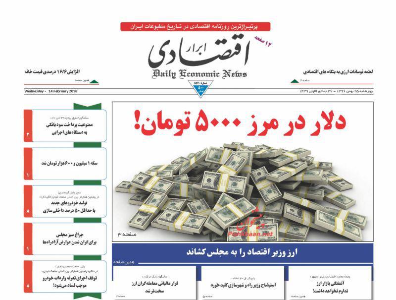 صفحه نخست روزنامههای اقتصادی 25 بهمن ماه
