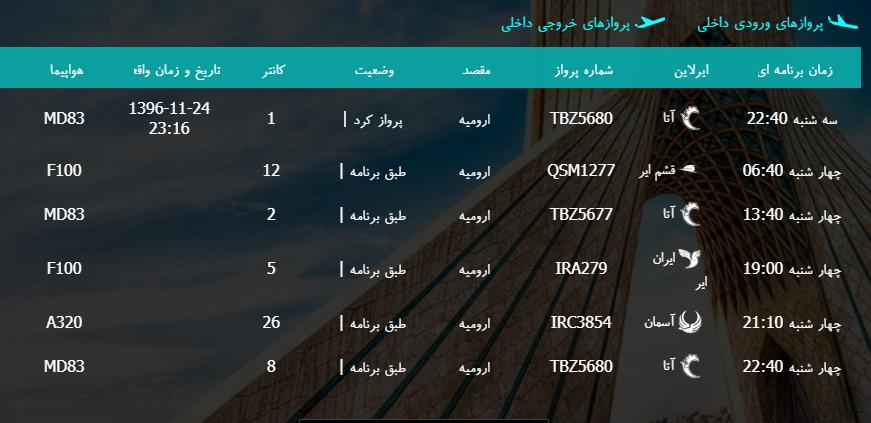 پروازهای چهارشنبه ۲۵ بهمن ماه از فرودگاه بین المللی ارومیه